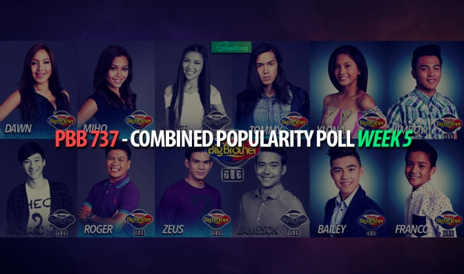 PBB 737 — Combined Popularity Poll Week 5 Results: ToMiho Continues To Rule, While BaiLona Suffers A Setback As Jimboy Enters Top 4